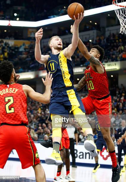 Domantas Sabonis of the Indiana Pacers shoots the ball against the Atlanta Hawks during the game at Bankers Life Fieldhouse on February 23 2018 in...