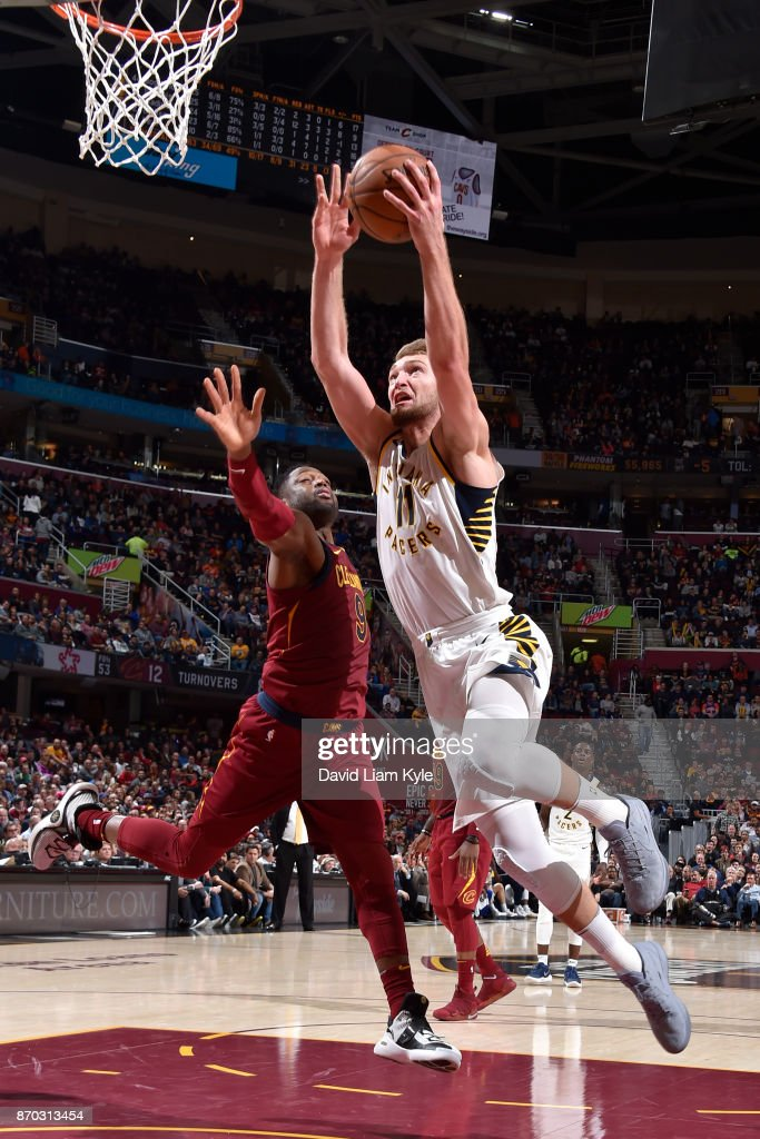 Domantas Sabonis #11 of the Indiana Pacers shoots the ball during the game against the Cleveland Cavaliers on November 1, 2017 at Quicken Loans Arena in Cleveland, Ohio.