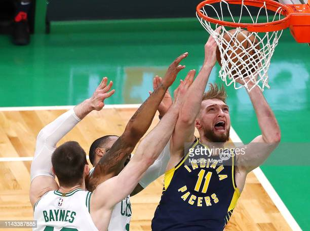 Domantas Sabonis of the Indiana Pacers takes a shot over Aron Baynes of the Boston Celtics during the second quarter of Game Two of Round One of the...
