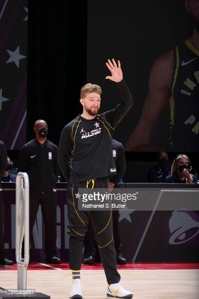 Domantas Sabonis of the Indiana Pacers waves during the Taco Bell Skills Challenge as part of 2021 NBA All Star Weekend on March 7, 2021 at State...