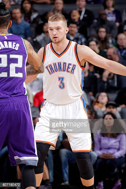 Domantas Sabonis of the Oklahoma City Thunder defends against the Sacramento Kings on November 23 2016 at Golden 1 Center in Sacramento California...