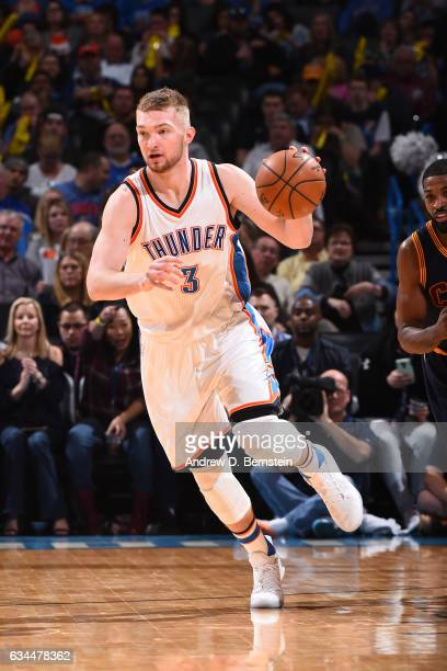 Domantas Sabonis of the Oklahoma City Thunder handles the ball against the Cleveland Cavaliers during the game on February 9 2017 at Chesapeake...