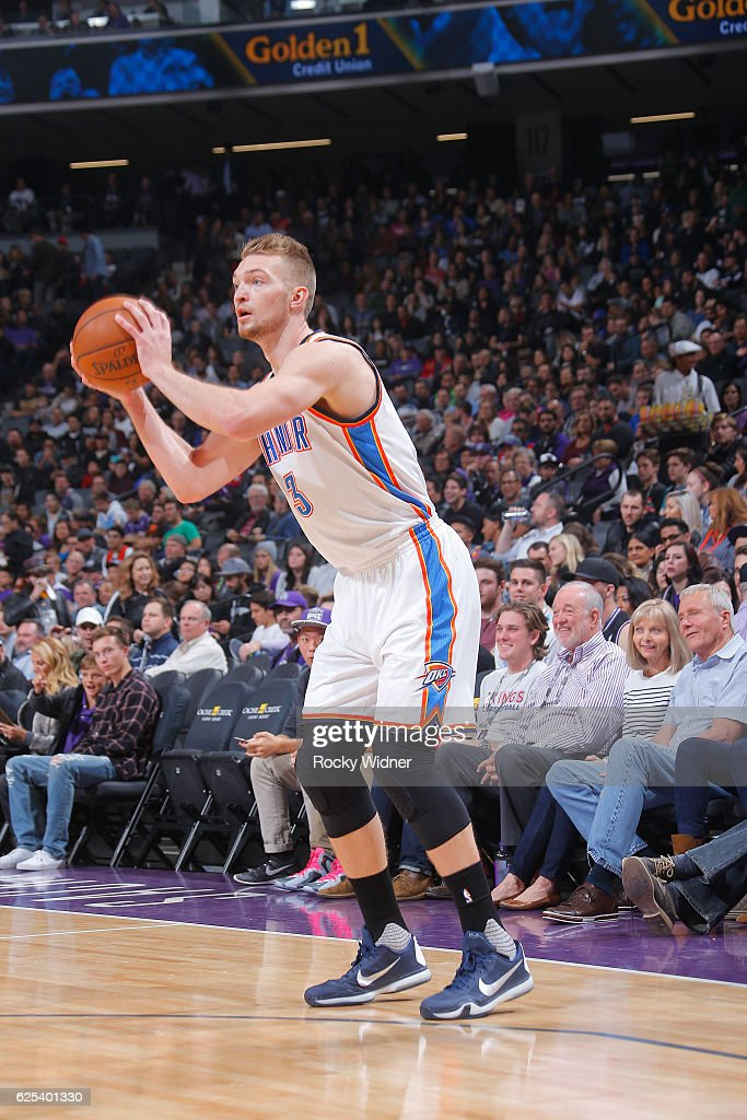 Domantas Sabonis #3 of the Oklahoma City Thunder passes the ball against the Sacramento Kings during the game on November 23, 2016 at Golden 1 Center in Sacramento, California.