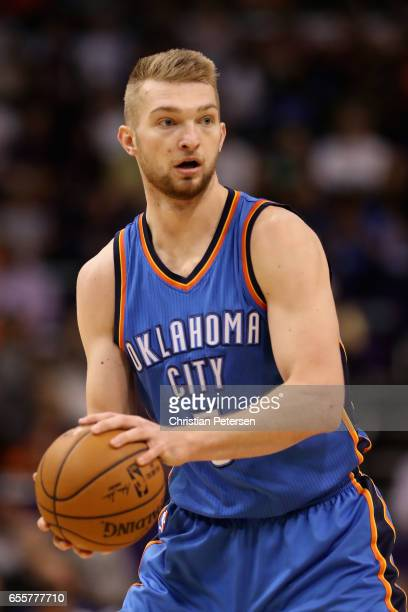 Domantas Sabonis of the Oklahoma City Thunder passes the ball during the first half of the NBA game against the Phoenix Suns at Talking Stick Resort...