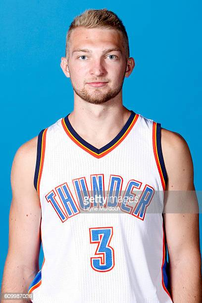 Domantas Sabonis of the Oklahoma City Thunder poses for a head shot during 2016 NBA Media Day on September 23 2016 at the Chesapeake Energy Arena in...