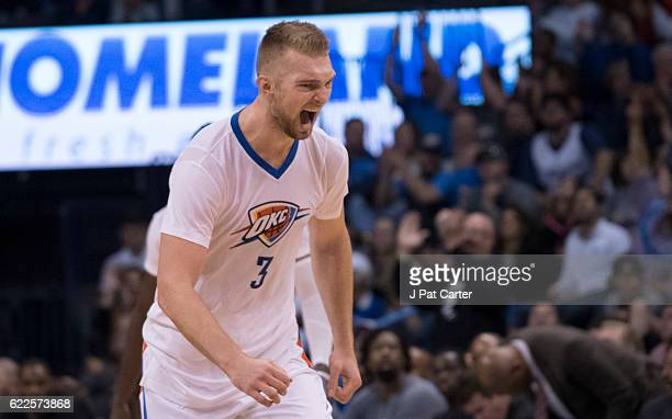 Domantas Sabonis of the Oklahoma City Thunder reacts after scoring tw0 points against the Los Angeles Clippers during the second half of a NBA game...
