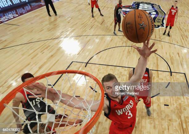 Domantas Sabonis of the Oklahoma City Thunder shoots the ball in the second half against the US Team during the 2017 BBVA Compass Rising Stars...