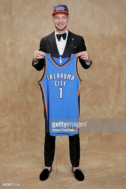 Domantas Sabonis poses for a portrait after being traded to the Oklahoma City Thunder during the 2016 NBA Draft on June 23 2016 at Barclays Center in...