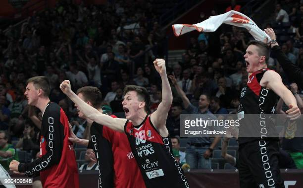 Domantas Vilys #88 of U18 Lietuvos Rytas Vilnius celebrating at the end of the Adidas Next Generation Tournament Championship game between U18...
