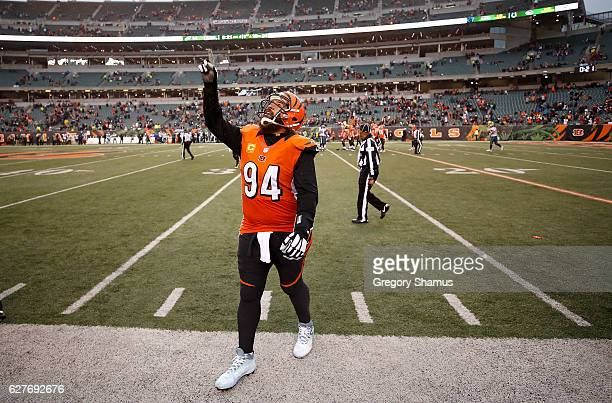 Domata Peko of the Cincinnati Bengals celebrates as he walks off of the field after defeating the Philadelphia Eagles 32-14 at Paul Brown Stadium on...