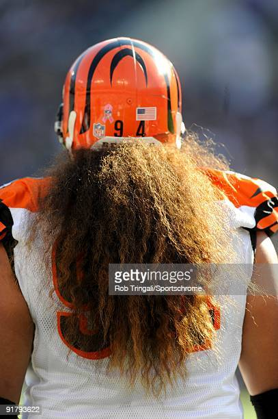 Domata Peko of the Cincinnati Bengals looks on against the Baltimore Ravens at M&T Bank Stadium on October 11, 2009 in Baltimore, Maryland. The...