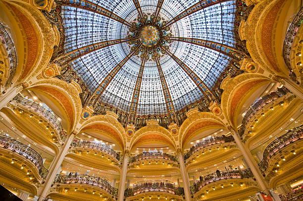 Dome and balconies of Galeries Lafayette on Boulevard Haussmann.