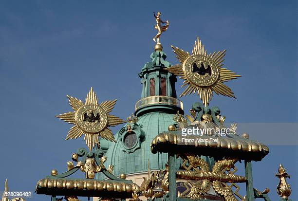 dome and finials at schloss charlottenburg, berlin - charlottenburg palace stock pictures, royalty-free photos & images