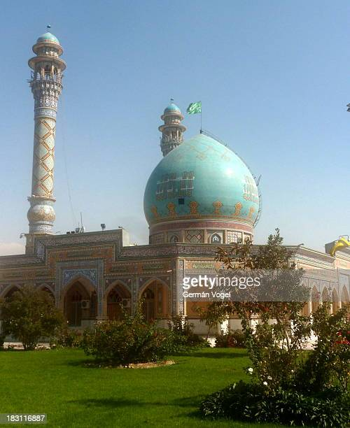 Dome and minarets of a Karaj Imamzadeh, a shrine for one of the descendants of the Prophet Mohammad, who escaped to Iran from the persecutions of...