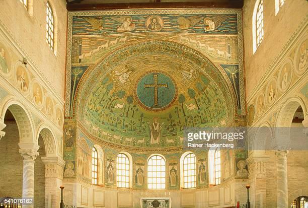 Dome, Ceiling fresco in the church 'San Vitale', Ravenna, Italy