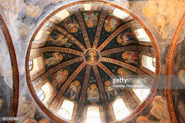 dome ceiling in chora church - kariye museum stock pictures, royalty-free photos & images