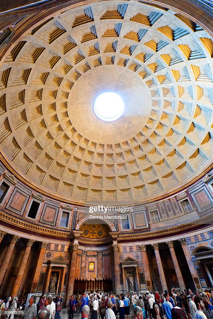 Dome ceiling, The Pantheon, Rome : Stock Photo