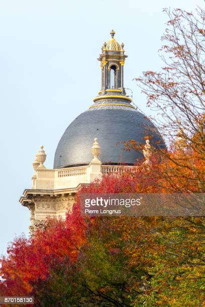 Dome covered with slates of The Palais des Beaux-Arts de Lille (Lille Palace of Fine Arts), rising above red colored tree leaves in october - Lille, North of France