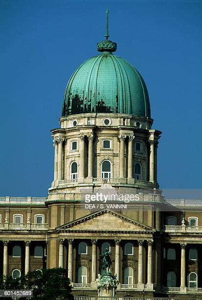 Dome of Buda castle Castle hill from the Chain Bridge Budapest Hungary