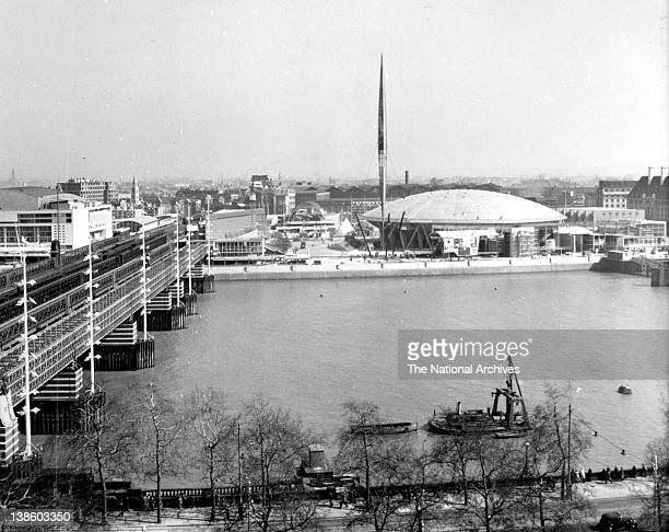 Dome of Discovery and Skylon on Southbank Festival of Britain site nearing completion April 1951