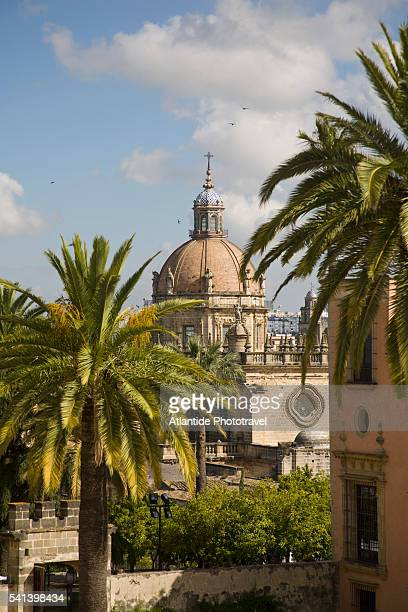 dome of jerez cathedral in jerez de la frontera - jerez de la frontera fotografías e imágenes de stock