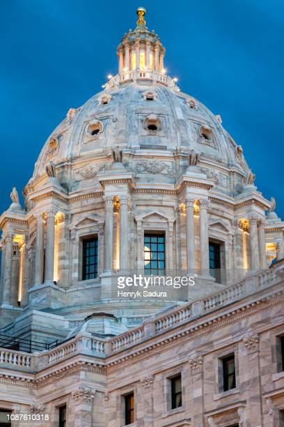 dome of minnesota state capitol building - st. paul minnesota stock pictures, royalty-free photos & images