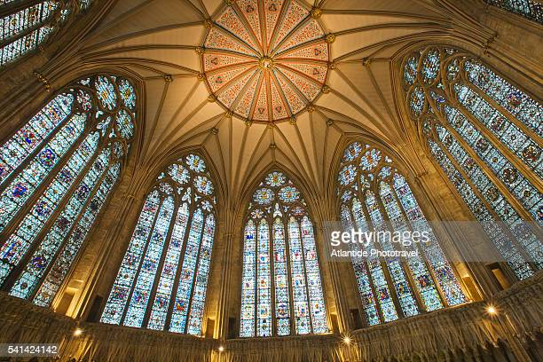 dome of the chapter house, york minster, york, england - york minster stock pictures, royalty-free photos & images