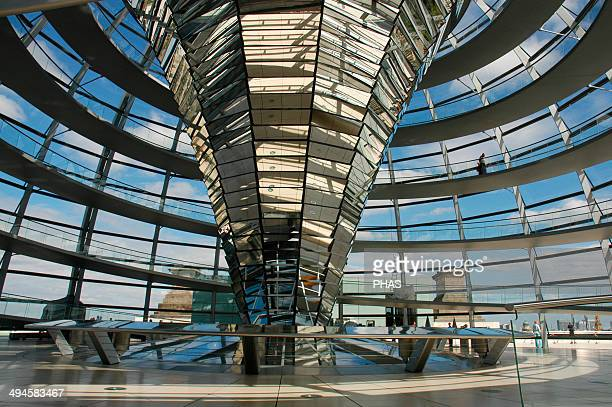 Dome of the Reichstag, seat of the German Parliament, designed by Norman Foster . Interior. Berlin. Germany.