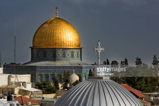 Dome of the rock and achurch dome in Jerusalem