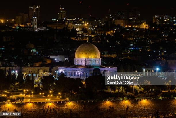 dome of the rock at night, jerusalem, israel - mar muerto fotografías e imágenes de stock