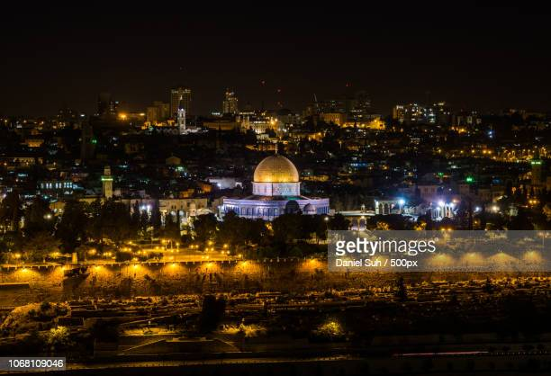 dome of the rock at night, jerusalem, israel - garden of gethsemane stock pictures, royalty-free photos & images