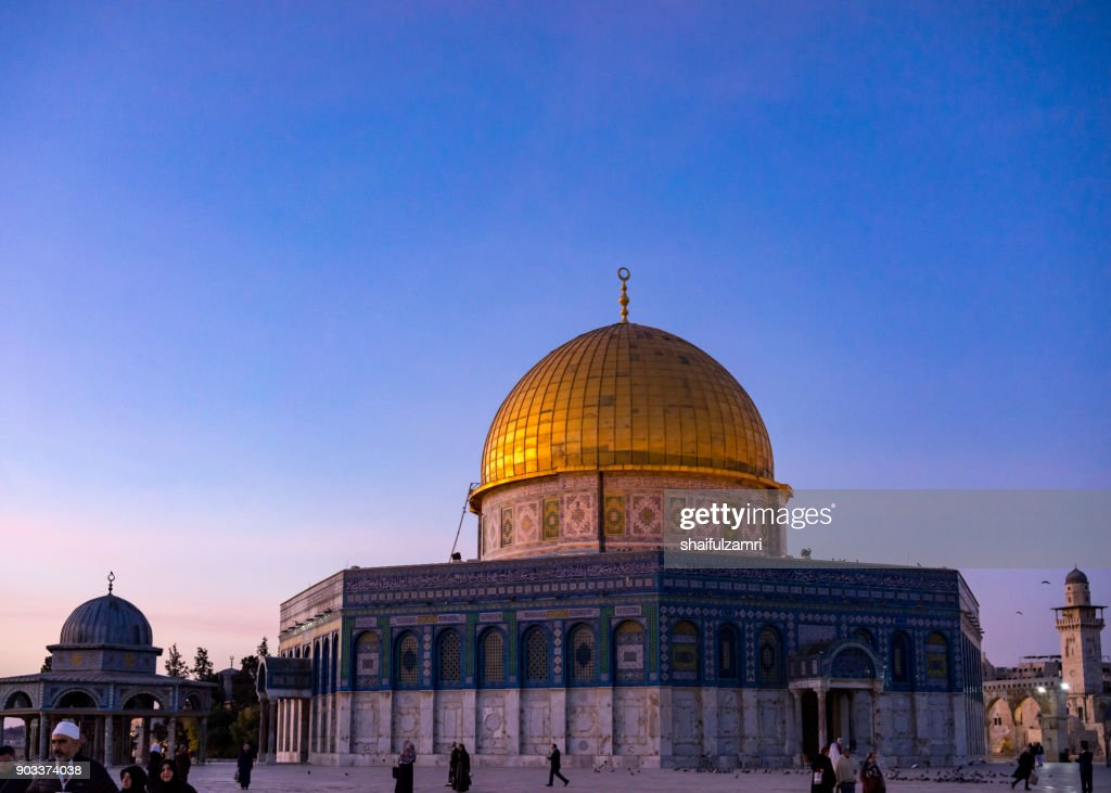 "Dome of the Rock Islamic Mosque Temple Mount, Jerusalem. Built in 691, where Prophet Mohamed ascended to heaven on an angel in his ""night journey"". : Stock Photo"