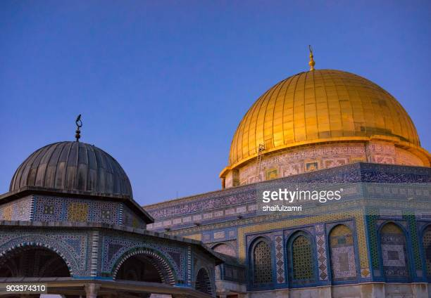 Dome of the Rock Islamic Mosque Temple Mount, Jerusalem. Built in 691, where Prophet Mohamed ascended to heaven on an angel in his 'night journey'.