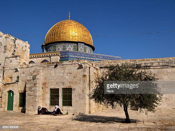 2008 Dome of the Rock Temple Mount Jerusalem Jerusalem district Palestine Israel On Friday Prayers' day a man and a woman sitting in front of the...