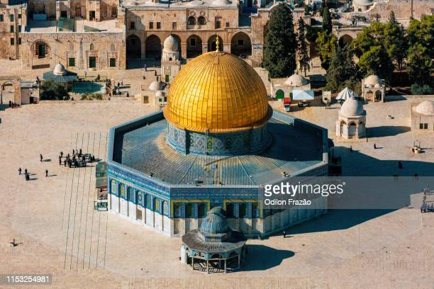 dome of the rock, temple mount, old city, jerusalem - monte del templo fotografías e imágenes de stock