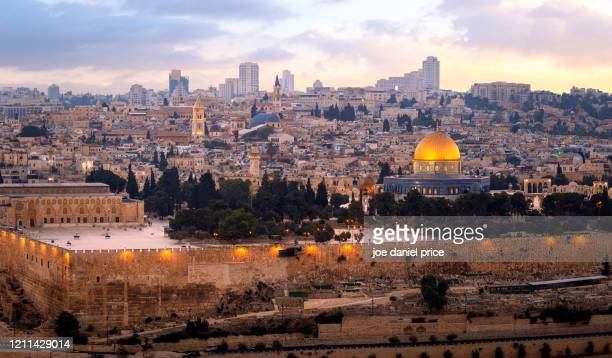 dome of the rock, temple mount, panorama, jerusalem, israel - dome of the rock stock pictures, royalty-free photos & images