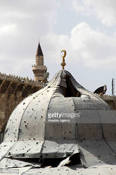 Dome of Umayyad Mosque destroyed after clashes between Asad regime forces and Syrian opponents is seen in Aleppo Syria on September 27 2014