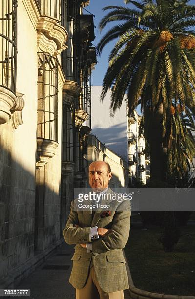 Domecq sherry producer Beltrane Domecq stands in front of Palacio Domecq in this 2003 Jerez Spain photo portrait