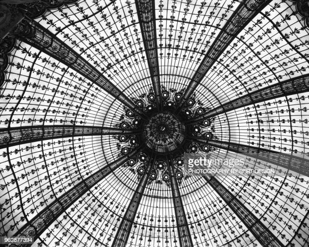 domed central area of galeries lafayette, paris, france - galeries lafayette paris stock photos and pictures
