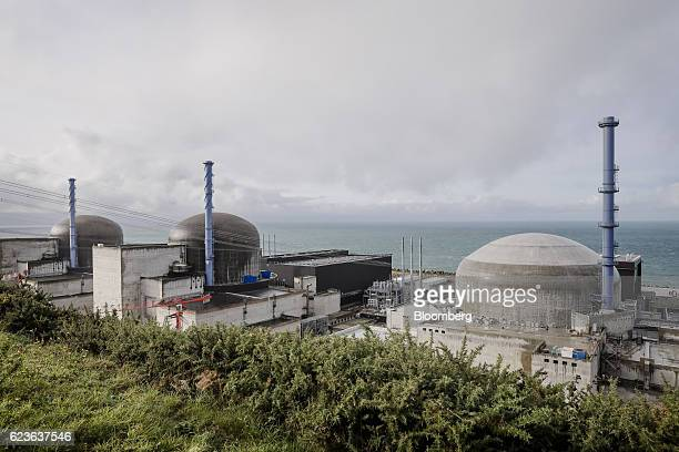 Domed containment buildings stand as construction work continues on the Evolutionary Power Reactor nuclear power plant operated by Electricite de...