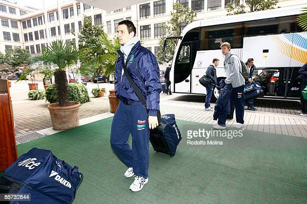 Domen Lorbek #8 of Benetton Basket Arrival at the Palasport on March 31 2009 in Turin Italy