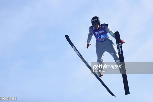 Domen Prevc of Slovenia competes in the FIS Nordic World Cup Four Hills Tournament on December 31 2017 in GarmischPartenkirchen Germany