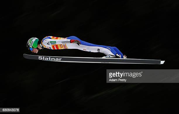 Domen Prevc of Slovenia soars through the air during his first competition jump on Day 2 on January 4 2017 in Innsbruck Austria