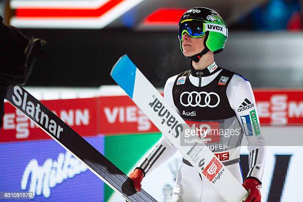 Domen Prevc of Slovenia soars through the air during his first competition jump on Day 2 on January 6 2017 in Bischofshofen Austria