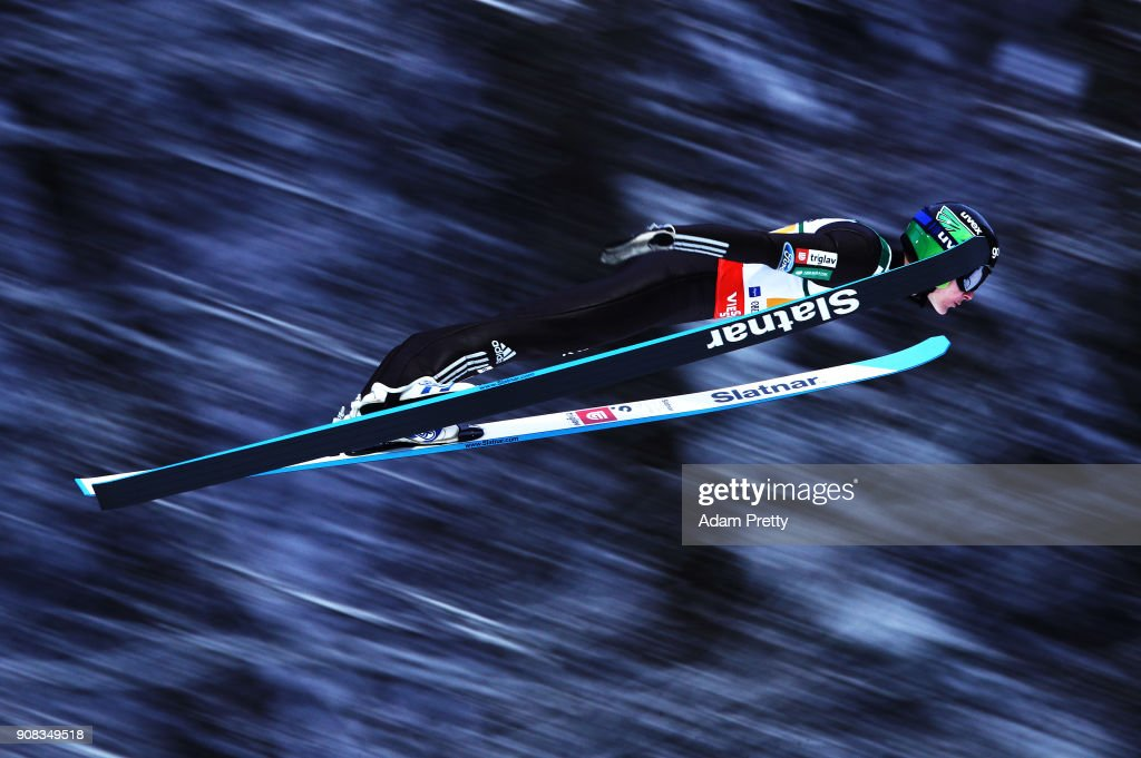 Domen Prevc of Slovenia soars through the air during his first competition jump of the Flying Hill Team competition of the Ski Flying World Championships on January 21, 2018 in Oberstdorf, Germany.