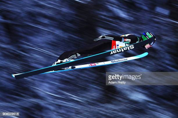 Domen Prevc of Slovenia soars through the air during his first competition jump of the Flying Hill Team competition of the Ski Flying World...