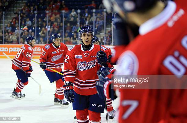 Domenic Commisso of the Oshawa Generals celebrates a goal during the second period of an OHL game against the Niagara IceDogs at the Meridian Centre...