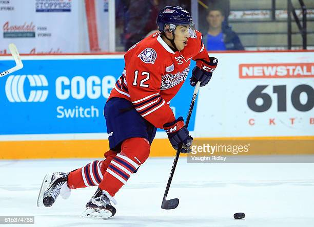 Domenic Commisso of the Oshawa Generals skates during an OHL game against the Niagara IceDogs at the Meridian Centre on October 15 2016 in St...