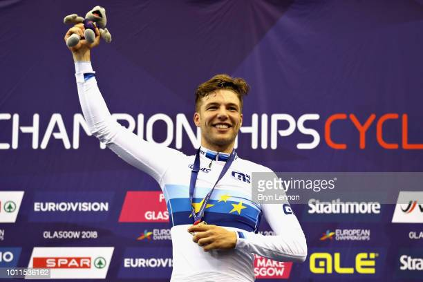 Domenic Weinstein of Germany celebrates winning gold in the Men's 4000m Individual Pursuit during the track cycling on Day Four of the European...
