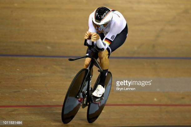 Domenic Weinstein of Germany competes in the final of the Men's 4000m Individual Pursuit during the track cycling on Day Four of the European...